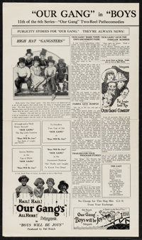 "Boys Will Be Joys (Pathé, 1925). Uncut Press Sheet (2 Pages, 9.5"" X 16.25""). Comedy"