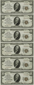 National Bank Notes:Pennsylvania, Huntingdon, PA - $10 1929 Ty. 1 The First NB Ch. # 31 Uncut Sheet.This $10 Type One sheet is an all serial number 2 exa...