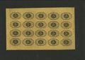 Fractional Currency:First Issue, Fr. 1230 5¢ First Issue Uncut Sheet of Twenty Gem New. This is anattractive uncut sheet with wide selvage. Plate numbers ar...