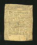 Colonial Notes:Connecticut, Connecticut June 7, 1776 2s Very Good. This example has been backedand it also has an approximate 1.25 inch split....