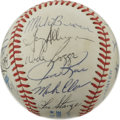 Autographs:Baseballs, 1983 Boston Red Sox Team Signed Baseball. Of the nineteensignatures that appear on the OAL (MacPhail) orb that we makeava...
