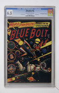"Golden Age (1938-1955):Science Fiction, Blue Bolt #108 Davis Crippen (""D"" Copy) pedigree (StarPublications, 1951) CGC FN+ 6.5 Off-white to white pages...."