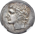 Ancients:Greek, Ancients: SICILY. Leontini. Ca. 450-420 BC. AR tetradrachm (27mm, 17.02 gm, 9h). NGC Choice MS 4/5 - 5/5, Fine Style....
