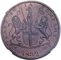India:Bombay Presidency, India: British India. Bombay Presidency copper Proof Pattern 1/2Anna AH 1246 (1832) PR55 Brown NGC,...