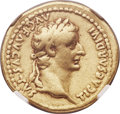 Ancients:Roman Imperial, Ancients: Tiberius (AD 14-37). AV aureus (19mm, 7.68 gm, 6h). NGCChoice Fine 5/5 - 4/5. ...