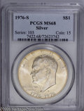 Eisenhower Dollars: , 1976-S $1 Silver MS68 PCGS. This Superb Gem shows olive-gold coloration throughout and the expected minimum of markings on...