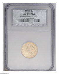 1882 $3 --Improperly Cleaned--NCS. AU Details. Slightly glossy and perhaps unnaturally reflective from a mild cleaning...