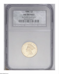 1886 $3 --Altered Surface--NCS. AU Details. Wiped with a jeweler's cloth to provide a glossy appearance, this boldly str...