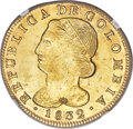 Colombia, Colombia: Republic gold 8 Escudos 1832 POPAYAN-UR MS61 NGC,...