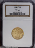 Liberty Half Eagles: , 1856-C $5 VF30 NGC. Variety 24-J. This evenly circulated greenish-gold Charlotte Half Eagle has pleasant definition for the...