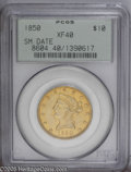 Liberty Eagles: , 1850 $10 Small Date XF40 PCGS. Intermingled pale yellow andbrighter lemon color with considerable remaining luster for the...
