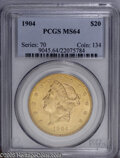 Liberty Double Eagles: , 1904 $20 MS64 PCGS. Fully brilliant with bold definition andnear-pristine surfaces. A Choice, near-Gem example of this mor...