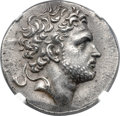 Ancients:Greek, Ancients: MACEDONIAN KINGDOM. Perseus (179-168 BC). AR tetradrachm (32mm, 16.89 gm, 12h). NGC Choice AU 5/5 - 4/5, Fine Style....