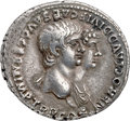 Ancients:Roman Imperial, Ancients: Nero (AD 54-68), with Agrippina Junior (Augusta, AD 50-59). AR denarius (19mm, 3.66 gm, 7h). NGC XF ★ 4/5 - 5/5....
