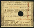 Colonial Notes:Massachusetts, Massachusetts May 5, 1780 $4 Hole Cancel Choice About New.. ...