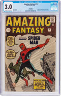 Silver Age (1956-1969):Superhero, Amazing Fantasy #15 UK Edition (Marvel, 1962) CGC GD/VG 3.0 Off-white to white pages....