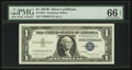Small Size:Silver Certificates, Low Serial Number Fr. 1621 $1 1957B Silver Certificate. PMG Gem Uncirculated 66 EPQ.. ...