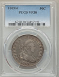 Early Half Dollars: , 1805/4 50C VF30 PCGS. PCGS Population: (38/85). NGC Census: (9/33).Mintage 211,722. . From The E.B. Strickland Collec...