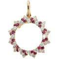 Estate Jewelry:Pendants and Lockets, Diamond, Ruby, Gold Pendant-Brooch. ...