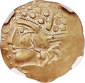 Ancients: NORTHERN GAUL. Aulerci Eburovices. Ca. 225-175 BC. EL hemistater (22mm, 3.64 gm, 9h), NGC Choice XF 4/5 - 4/5...