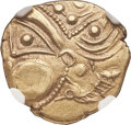 Ancients: NORTHERN GAUL. Aulerci Eburovices. Ca. 225-175 BC. EL hemistater (18mm, 3.06 gm, 5h). NGC Choice XF 4/5 - 3/5...