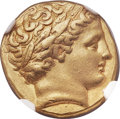 Ancients:Greek, Ancients: MACEDONIAN KINGDOM. Philip II (359-336 BC). AV stater (18mm, 8.55 gm, 10h). NGC Choice XF 5/5 - 4/5. ...