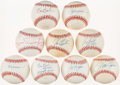 Autographs:Baseballs, Baseball Greats Single/Multi Signed Baseballs Lot of 9....
