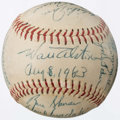 Autographs:Baseballs, 1963 Los Angeles Dodgers Team Signed Baseball (17 Signatures)....