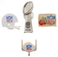 Football Collectibles:Others, Football Press Pins Lot of 4 - Including 1986 Super Bowl XX Pin. ...