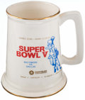 Football Collectibles:Others, Super Bowl V Stein....