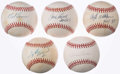Baseball Collectibles:Balls, Hall of Fame Pitchers Single Signed Baseball Collection (5) -Seaver, Perry, Lemon, Wilhelm, & Carlton. ...