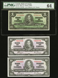 Canadian Currency, BC-21a $1 1937. BC-24c $10 1937, Two Examples.. ... (Total: 3notes)