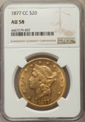 Liberty Double Eagles: , 1877-CC $20 AU58 NGC. Pop (124/24), CDN Collector Price($20600.00), Trends ($23500.00), CAC (14/4)
