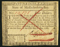Colonial Notes:Massachusetts, Massachusetts May 5, 1780 $4 Pen Cancel Extremely Fine-About New.....