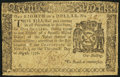 Colonial Notes:New York, New York August 13, 1776 $1/8 Fine.. ...
