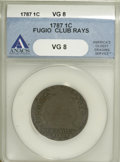 1787 1C Fugio Cent, Club Rays, Rounded Ends VG8 ANACS. NGC Census: (0/0). PCGS Population (2/76). (#904)...(PCGS# 904)