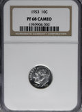 Proof Roosevelt Dimes, 1953 10C PR68 Cameo NGC. PCGS Population (5/0). NGC Census: (86/4).Numismedia Wsl. Price for NGC/PCGS coin in PR68: $460....