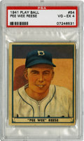 """Baseball Cards:Singles (1940-1949), 1941 Play Ball Pee Wee Reese #54 PSA VG-EX 4. A young championmarble player, Harold """"Pee Wee"""" Reese earned his nickname en..."""