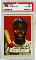 Baseball Cards:Singles (1950-1959), 1952 Topps Jackie Robinson #312 PSA VG-EX 4. One of baseball'smost-beloved sons presents here for this fine entry from the...