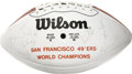 Football Collectibles:Uniforms, 1988 San Francisco 49ers Super Bowl Champion Team Signed Football . The 49ers of San Francisco were just getting into the g...
