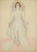 Works on Paper, CARL LINK (American 1887-1968). Miss Alice Weaver. Colored pencil, watercolor, and pencil on paper. 13-1/2 x 9-1/2 inche...