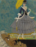 Fine Art - Painting, American:Modern  (1900 1949)  , CARL LINK (American 1887-1968). Girl with Parasol. Gouacheand watercolor on paper. 11-3/8 x 8-3/4 inches (28.9 x 22.2 c...