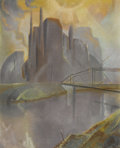 Fine Art - Painting, American:Modern  (1900 1949)  , WILLIAM LESTER STEVENS (American 1888-1969). City Skyline.Pastel on paper. 21-1/2 x 17-1/2 inches window (54.6 x 44.5 c...