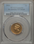Three Dollar Gold Pieces, 1864 $3 -- Ex-Jewelry -- PCGS Genuine. VF Details. NGC Census: (2/159). PCGS Population: (0/166). CDN: $1,350 Whsle. Bid fo...