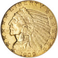 Indian Half Eagles, 1909-S $5 MS62 NGC....
