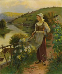 Ascribed to Daniel Ridgway Knight (American, 1839-1942) Tending to the Garden Oil on canvas 29-3/