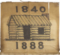 Political:Textile Display (pre-1896), Benjamin Harrison: A Hand-Painted Folk-Art Banner from the 1888Election, ...
