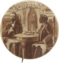 "Political:Pinback Buttons (1896-present), Theodore Roosevelt and Booker T. Washington: A Rare Large-Size 1¾""""Equality"" Button...."