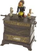 """Antiques:Toys, """"Organ Bank"""" Mechanical Bank - Cat and Dog..."""
