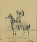 Fine Art - Painting, American:Modern  (1900 1949)  , HENRY F. FARNEY (American 1847-1916). Indian Scout onHorseback. Pen and ink on paper. 7-1/2 x 9 inches (19.1 x 22.9cm)...